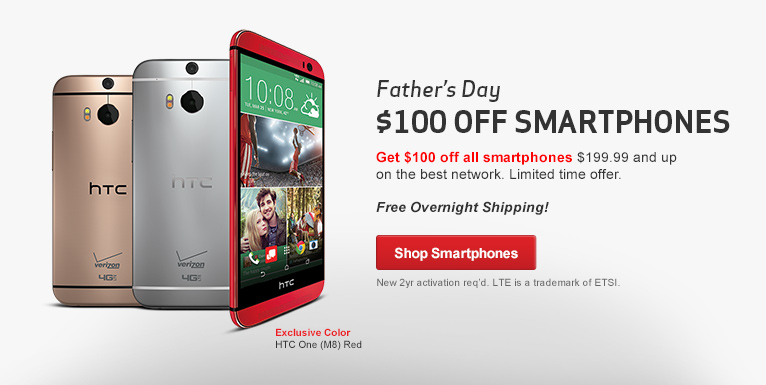 Tech Dad Up. Get Dad the best smartphones on the best network. $100 off all smartphones over $199.99. New 2 year activation required.