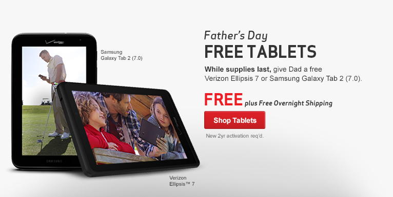 Get the Free Verizon Ellipsis Tablet or Free Samsung Galaxy Tab 2 (7.0). New 2 year activation required.